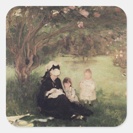 Beneath the Lilac at Maurecourt, 1874 Square Sticker