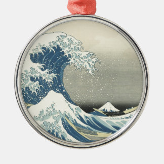 Beneath the Wave off Kamagawa Silver-Colored Round Decoration