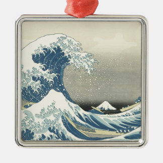 Beneath the Wave off Kamagawa Silver-Colored Square Decoration