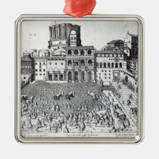 Benediction of The Pope in St.Peter's Square Silver-Colored Square Decoration