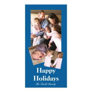 Beneficently Influential Blue Color Customizable Photo Cards