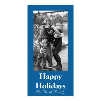 Beneficently Influential Blue Color Customizable Photo Greeting Card