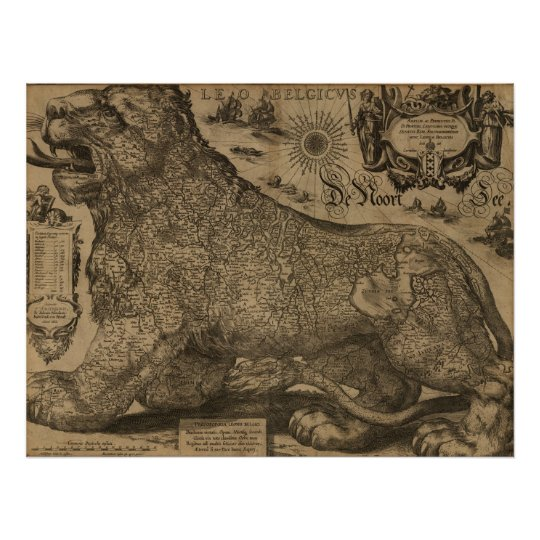 Benelux countries 1611 - Leo Belgicus Poster