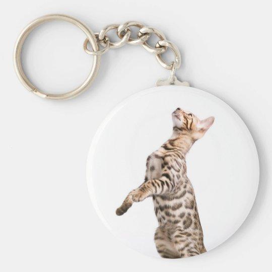 Bengal Cat Basic Round Button Key Ring
