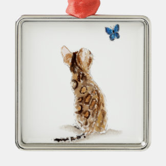 Bengal Cat  & Butterfly Christmas Ornament