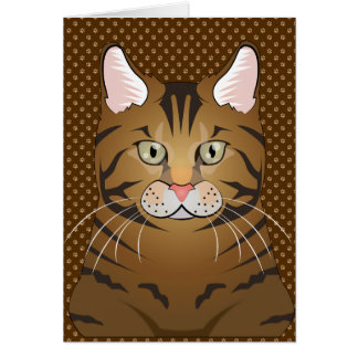 Bengal Cat Cartoon Paws Card
