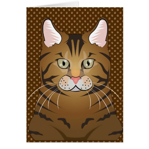 Bengal Cat Cartoon Paws Cards