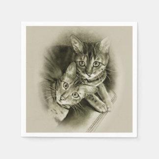 Bengal Cat Couple, Original Pencil Drawing Paper Napkin