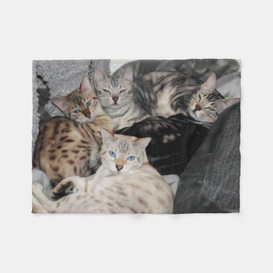 Bengal Cat Kitty Pile Fleece Blanket