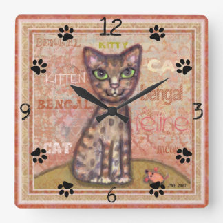 Bengal Cat Lover Square Wall Clock