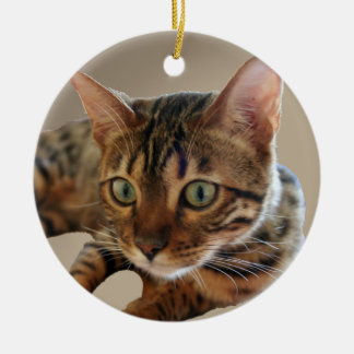 Bengal Cat Round Ceramic Decoration