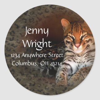 Bengal Cat Round Return Address Labels Round Sticker