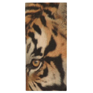 Bengal Tiger Eyes Double-Side | Nature Photography Wood USB Flash Drive
