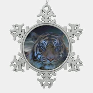 Bengal Tiger Head Watercolor Big Cats Pewter Snowflake Decoration