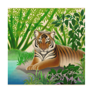 Bengal Tiger in Bamboo Jungle Wooden Wall Art Wood Canvases