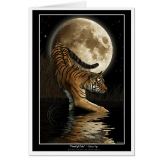Bengal TIGER & Moon Greeting-card