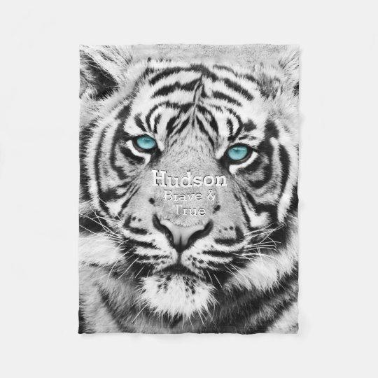 Bengal Tiger Personalised White Tiger Fleece Blanket