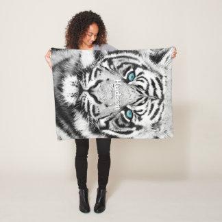 Bengal Tiger Personalized White Tiger Fleece Blanket