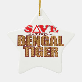 Bengal Tiger Save Ceramic Star Decoration