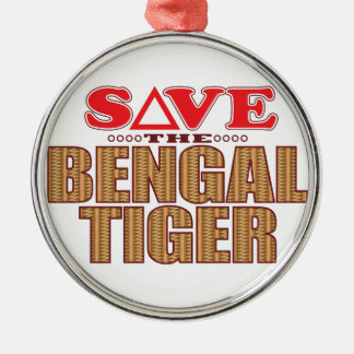 Bengal Tiger Save Silver-Colored Round Decoration