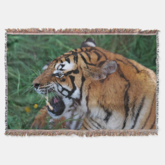 Bengal Tiger showing its fangs Throw Blanket