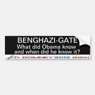 Benghazi-Gate What did Obama know? Sticker Bumper Sticker