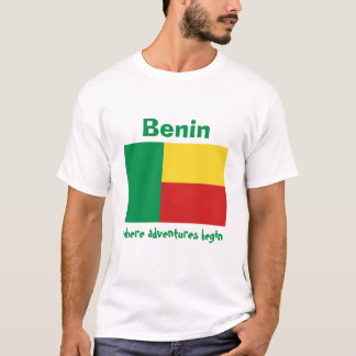 Benin Flag + Map + Text T-Shirt