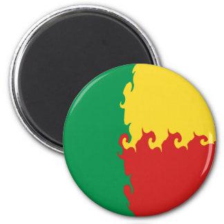 Benin Gnarly Flag 6 Cm Round Magnet