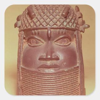 Benin mask square sticker