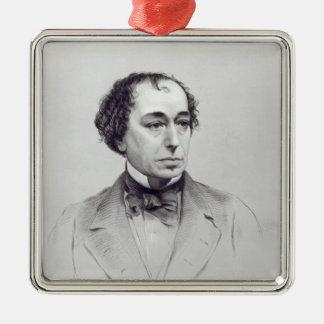 Benjamin Disraeli, 1st Earl Beaconsfield Silver-Colored Square Decoration