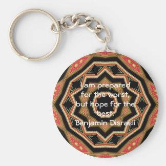Benjamin Disraeli Inspirational Quote Basic Round Button Key Ring