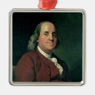 Benjamin Franklin, 1782 Silver-Colored Square Decoration
