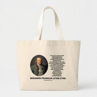 Benjamin Franklin Evaluating Probabilities Quote Jumbo Tote Bag