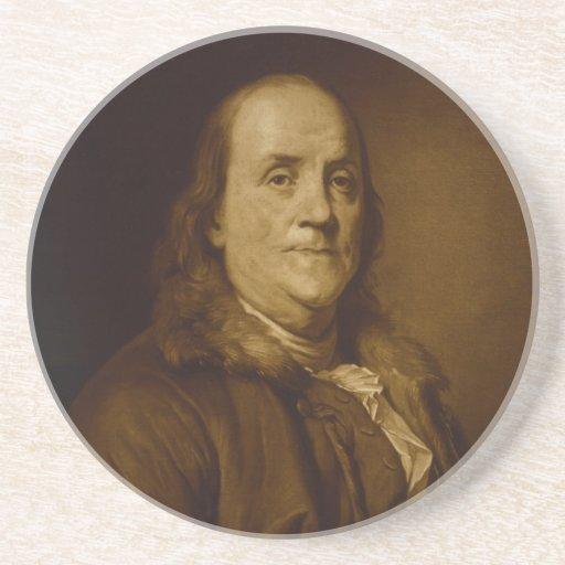 Benjamin Franklin Head and Shoulders Portrait Beverage Coaster