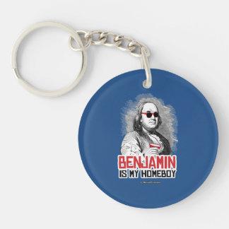 Benjamin Franklin is my Homeboy Single-Sided Round Acrylic Keychain