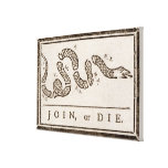 """Benjamin Franklin """"Join or Die"""" Cartoon Poster Stretched Canvas Print"""