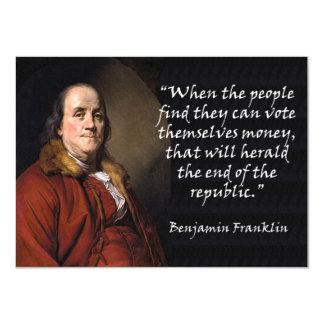 Benjamin Franklin on Voting For Money 11 Cm X 16 Cm Invitation Card