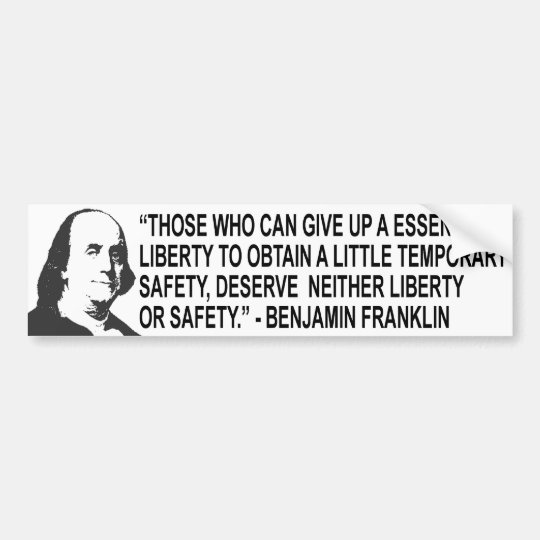 Benjamin Franklin Quote Bumper Sticker