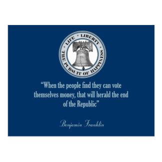 Benjamin Franklin Quote (Money) Postcard