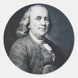 Benjamin Franklin - Vintage Magic Lantern Slide Round Sticker
