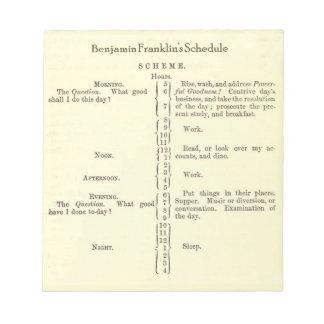 Benjamin Franklin's Schedule Planner notepad
