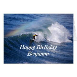 Benjamin Happy Birthday Surfer With Rainbow Card