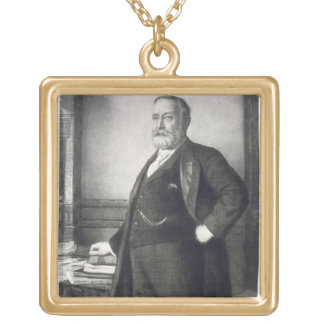 Benjamin Harrison (1833-1901), 23rd President of t Square Pendant Necklace