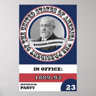 Benjamin Harrison Presidential History Retro Poster