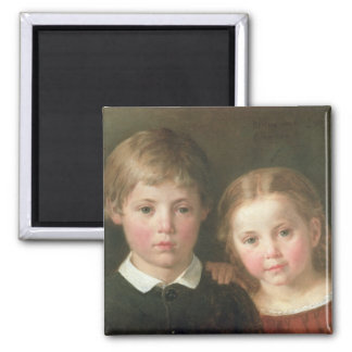 Benno six years and Elna, four years, 1864 Square Magnet
