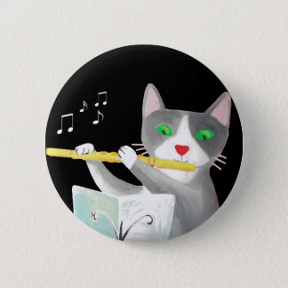 Benny the flute player cat 6 cm round badge
