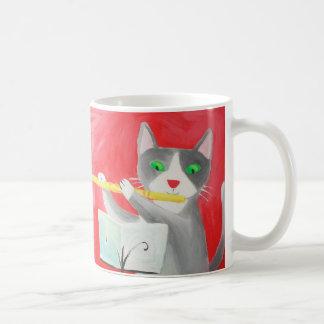 Benny the flute player cat basic white mug