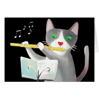Benny the flute player cat card