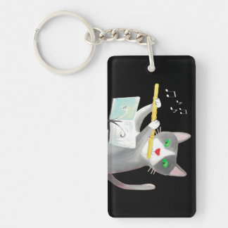 Benny the flute player cat key ring