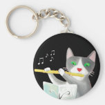 Benny the flute player cat keychains